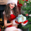 Christmas, woman interior — Stock Photo