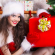 Happy smiling woman present  Christmas gift surprise — Stock Photo