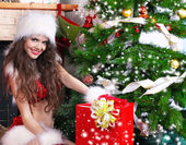 Portrait of beautiful sexy girl wearing santa claus clothes — Стоковое фото