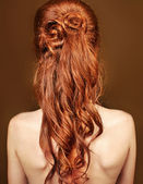Red curly long hair style of Beautiful Woman — Stock Photo