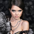 Photo of sexual beautiful girl is in fashion style, fur coat - Stock Photo