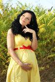 Droom van mooie zwangere vrouw, buitenshuis — Stockfoto