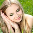 Beautiful blond Girl face outdoors portrait. Perfect skin care c — Stock Photo