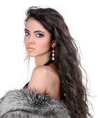 Bella ragazza bruna. capelli lunghi ricci sani — Foto Stock