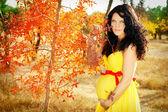 Schöne schwangere frau mit roten band am bauch, herbst im freien — Stockfoto