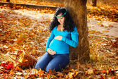 Mooie zwangere vrouw in herfst park, buitenshuis — Stockfoto