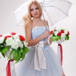 Young attractive blond bride — Stock Photo
