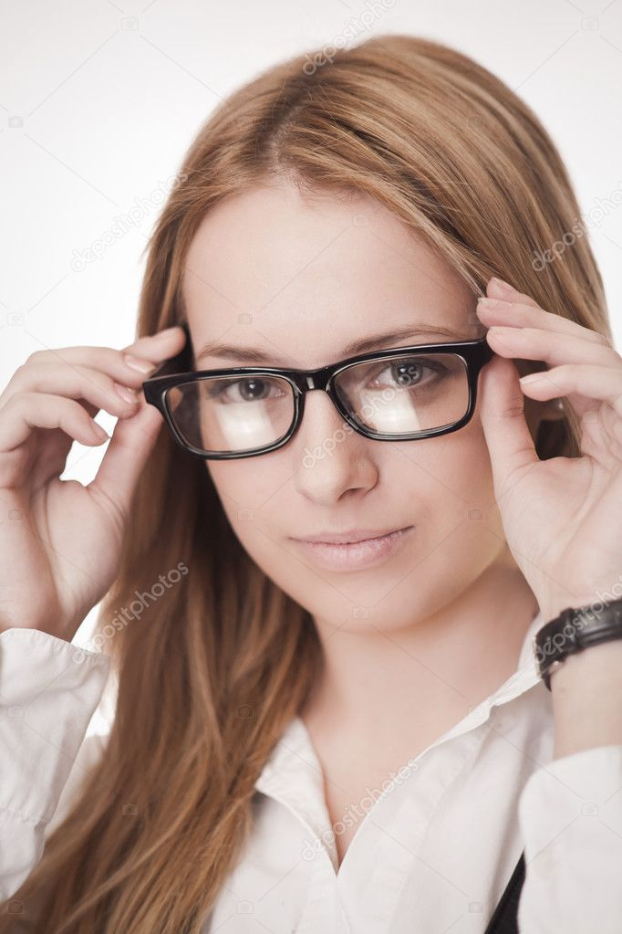Portrait of young attractive girl in glasses — Stock Photo #9091955