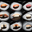 Set of 9 different nigirizushi (sushi) — Stock Photo
