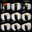 Set of 9 different gunkanmaki (sushi) — Stock Photo