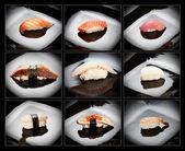Set of 9 different nigirizushi (sushi) — Zdjęcie stockowe