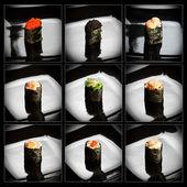 Set of 9 different gunkanmaki (sushi) — Stockfoto