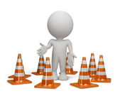 3d person with a traffic cone — Stock Photo