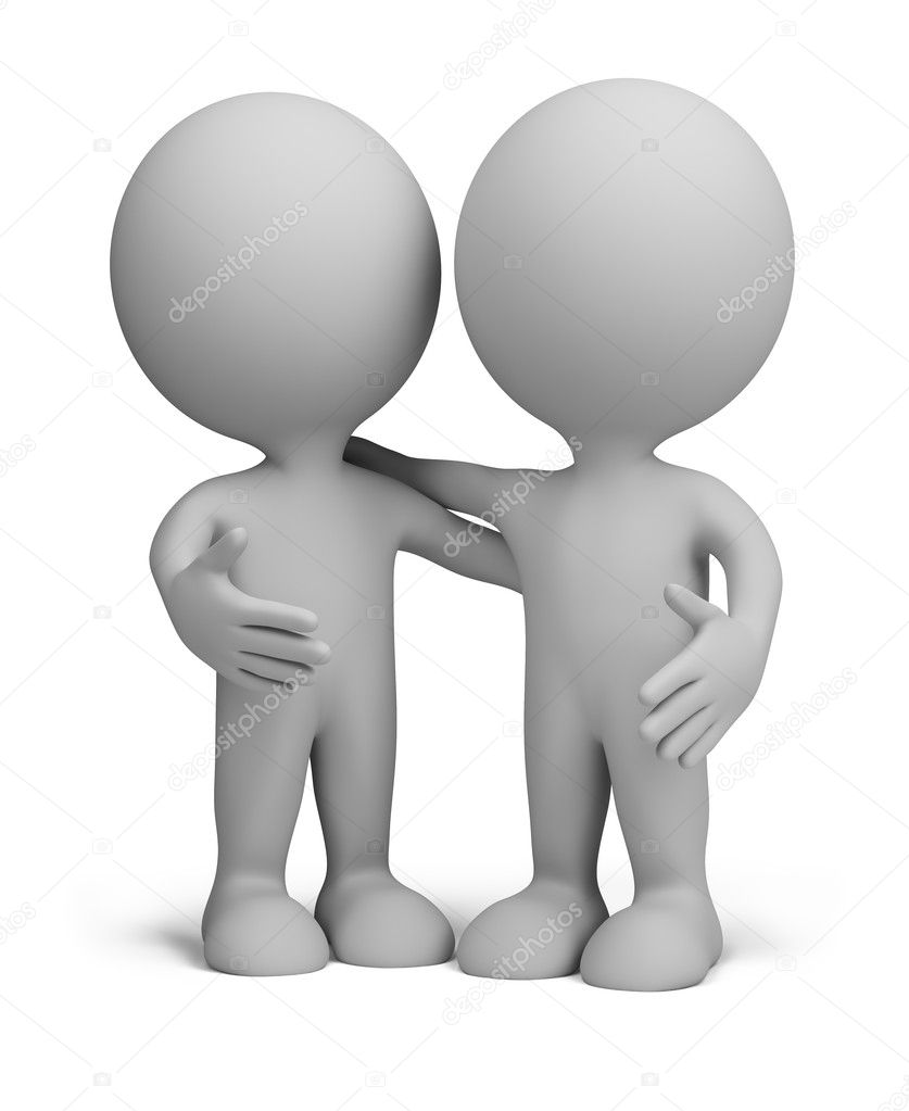Two friends standing next to an embrace. 3d image. Isolated white background. — Stock Photo #8611749
