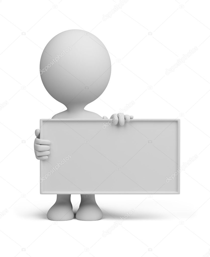 3d man standing with a empty board. 3d image. Isolated white background. — Stock Photo #8639205