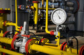 Manometers pressure gas line with valve — Stock Photo