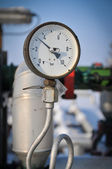 Oil pressure gauge on the gas plant — Stock Photo