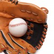 A baseball glove and ball on a white background — Stock Photo