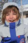 Dívka a sněhové vločky — Stock fotografie