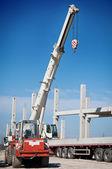 Crane works on construction — Stock Photo