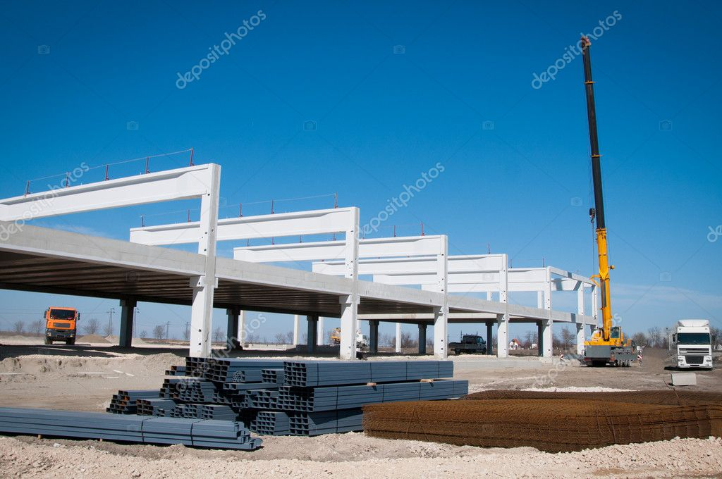 Crane works on construction  — Stock Photo #9527539