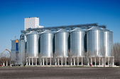 Silver Grain Silos with blue sky in background — Stock Photo