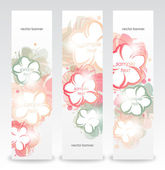 Set of the floral abstract banners. — Stock Vector