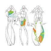 Fashion illustration girls — ストックベクタ