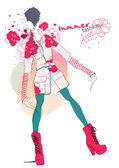 Illustration fashionable girl — 图库矢量图片