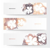 Vector beautiful horizontal floral banners — Stock Vector