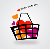 Basket and multicolored hearts. Vector illustration. — Stock Vector