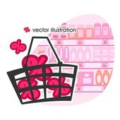 Shopping basket with percent. Vector illustration — Stock Vector