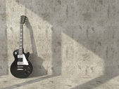 Electric guitar on the background of the old concrete wall — Stock Photo