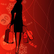 Shopping girl on the sale background. — Stock Vector