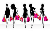 Shopping girls silhouettes. — Stock Vector