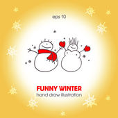 Funny a couple of snowmen. — Stock Vector
