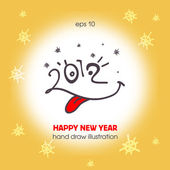 New Year 2012 in the funny faces with tongue. — Stock Vector