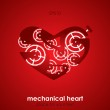 Valentine's Day Card. Mechanical heart. — Stock Vector