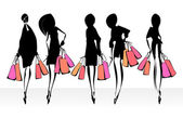 Fashion illustration. Shopping. — Stock Vector