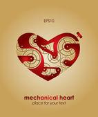 Valentinstagskarte. mechanische Herz. — Stockvektor