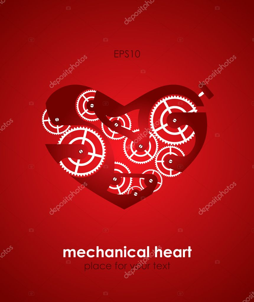 Valentine's Day Card. Mechanical heart. Eps10  Stock Vector #8540106