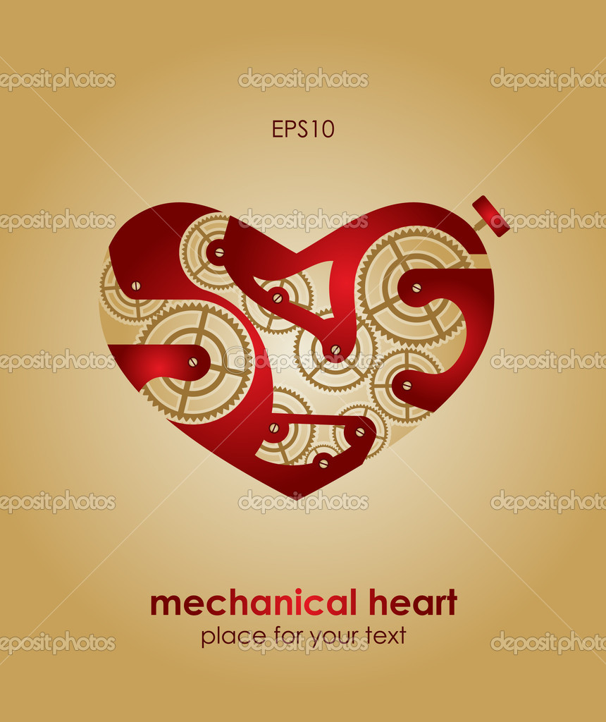 Valentine's Day Card. Mechanical heart. Eps10  Stock Vector #8540108