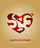 Mechanical Valentine heart. Valentine's Day Card. — Stock Vector