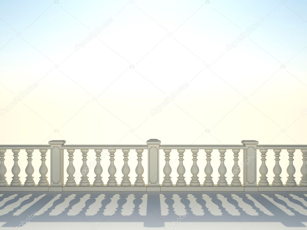 Balustrade with pillar on sky background  — Stock Photo #9120800