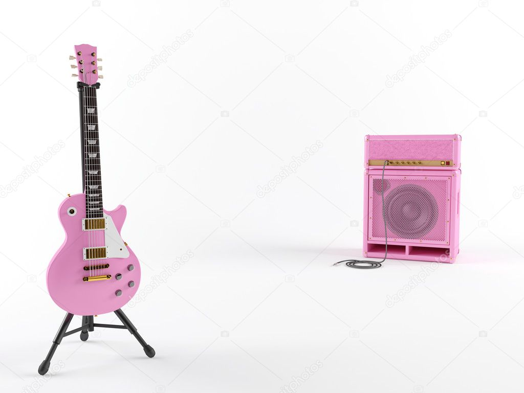 Pink guitar with amplifier  — Stock Photo #9120830