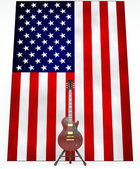 Electric guitar on the background of USA flag — Stock Photo