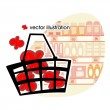 Stock Vector: Market basket with red percents.