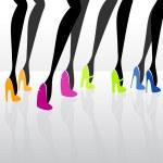 Women wearing elegant high heels. — Stock Vector