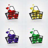 Set of market basket filled with hearts. — Stock Vector