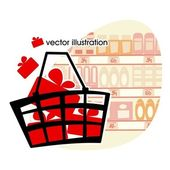 Market basket with red boxes with gifts. — Stock Vector